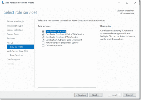 Adding the role services to install for AD CS