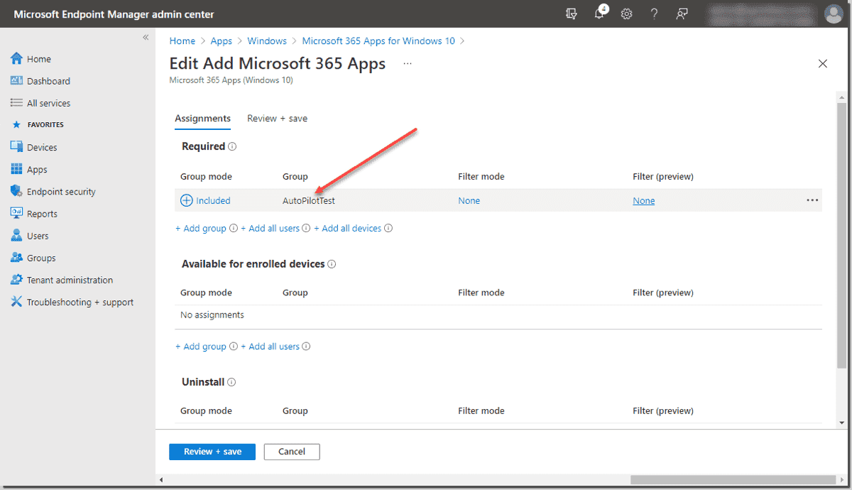 Assign the group added earlier to the Windows Autopilot deployment profile