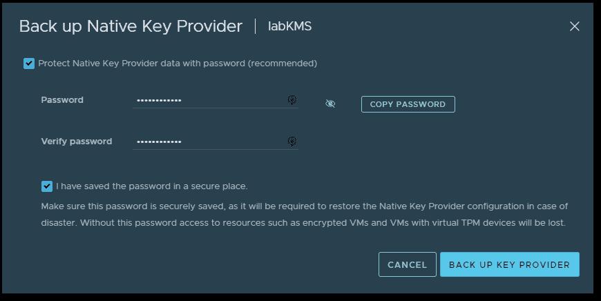 Back up Native Key Provider