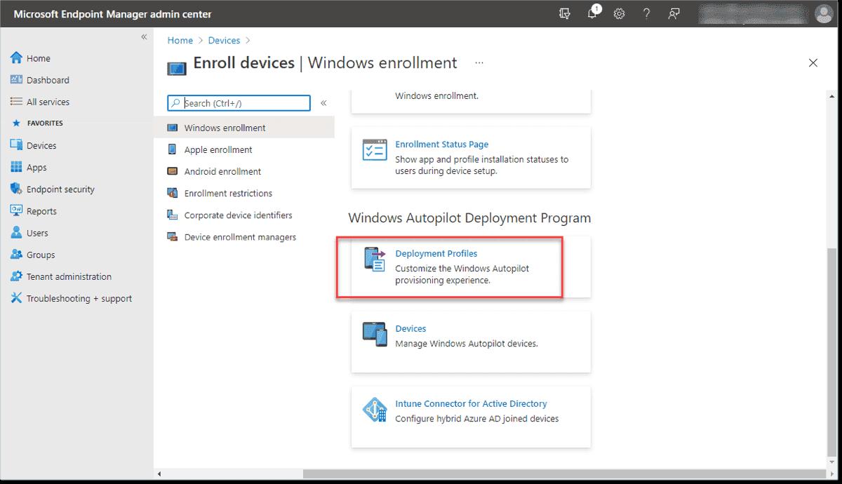 Begin creating an Autopilot deployment profile
