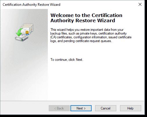 Beginning the AD CS restore wizard