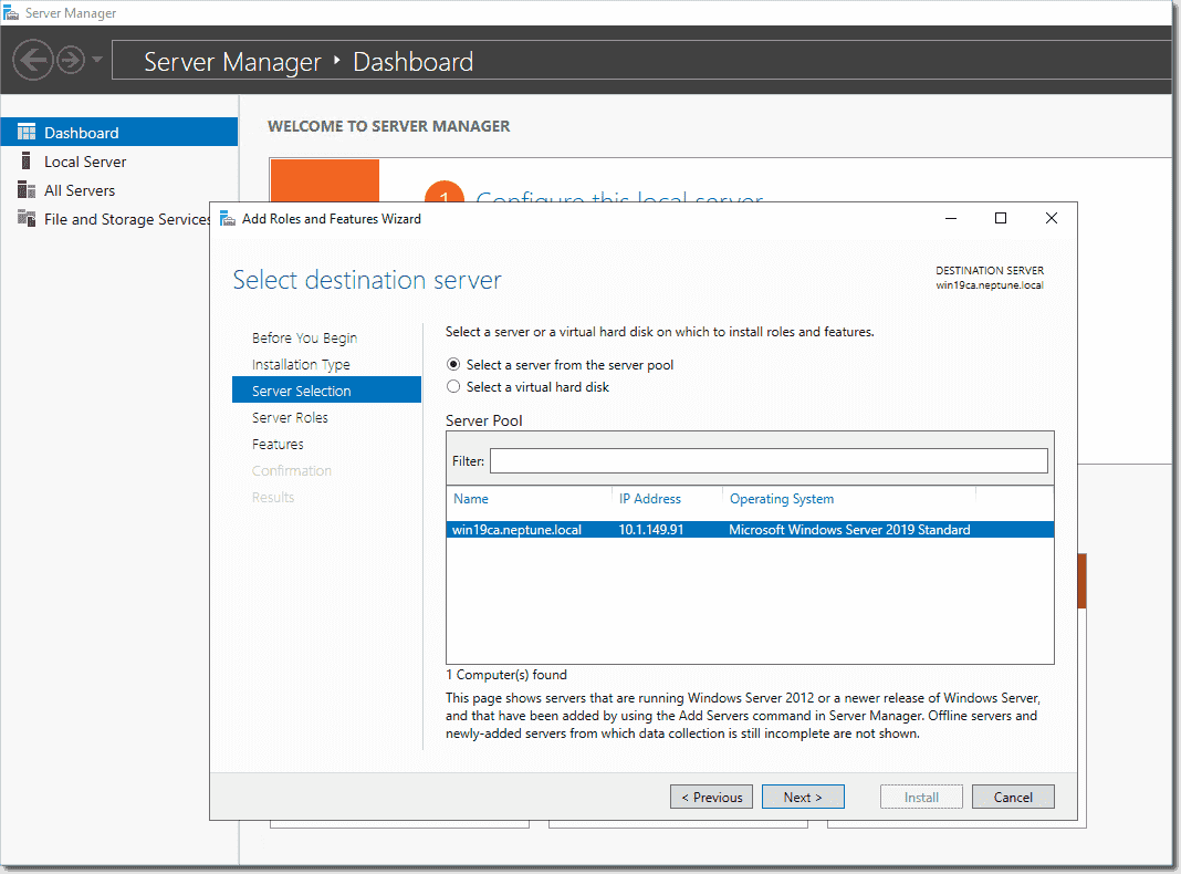 Beginning the Add Roles and Features Wizard to add AD CS