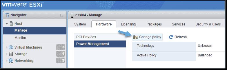 Change VMware ESXi power management policy