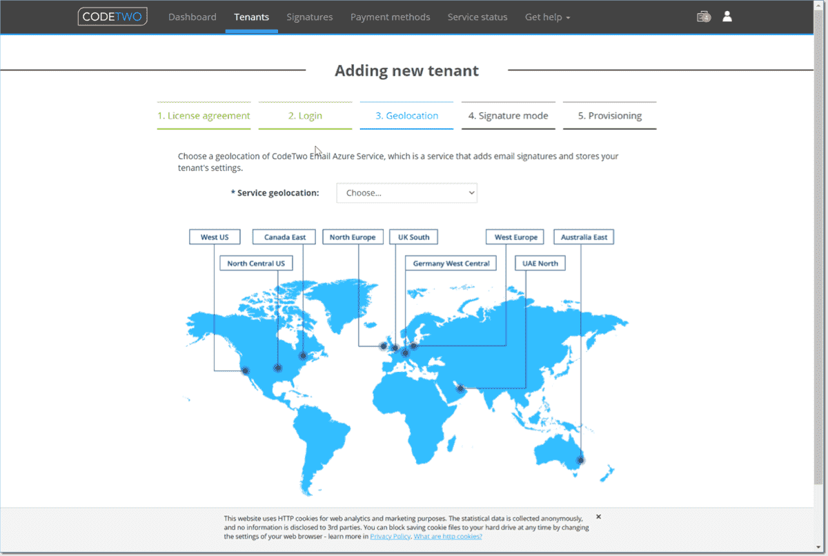 Choose the geolocation of the CodeTwo Azure service