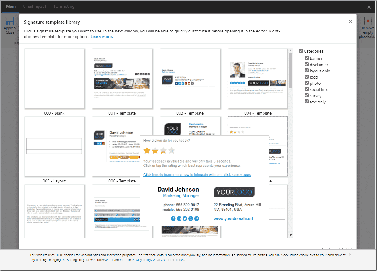 CodeTwo has numerous signature templates from which to choose