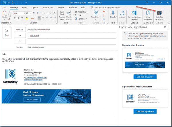 CodeTwo provides a modern signature add in for Outlook and Outlook Web Access