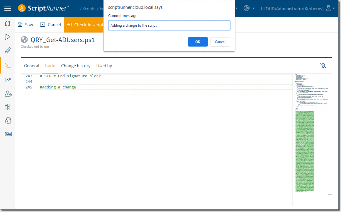 Committing a change to the PowerShell script using the integrated script editor