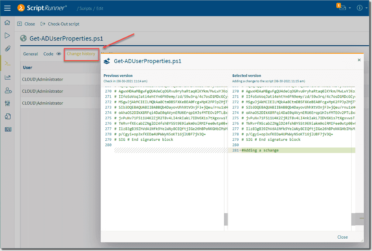 Comparing changes made between PowerShell script versions in ScriptRunner