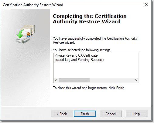 Completing the AD CS restore wizard