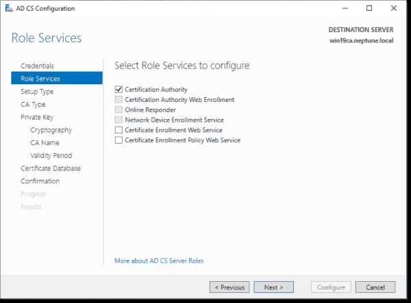 Configure AD CS role services