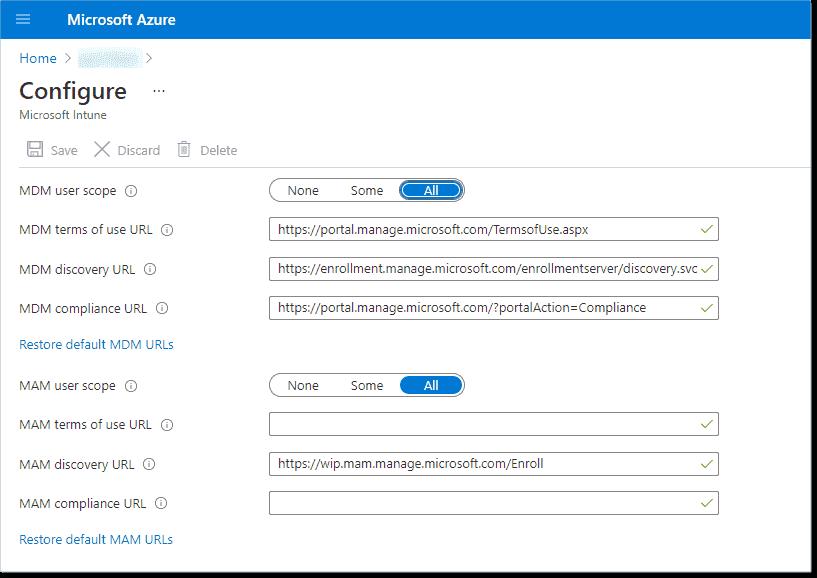 Configure MDM user scope and MAM user scope