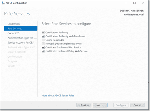 Configure additional Certification Authority role services