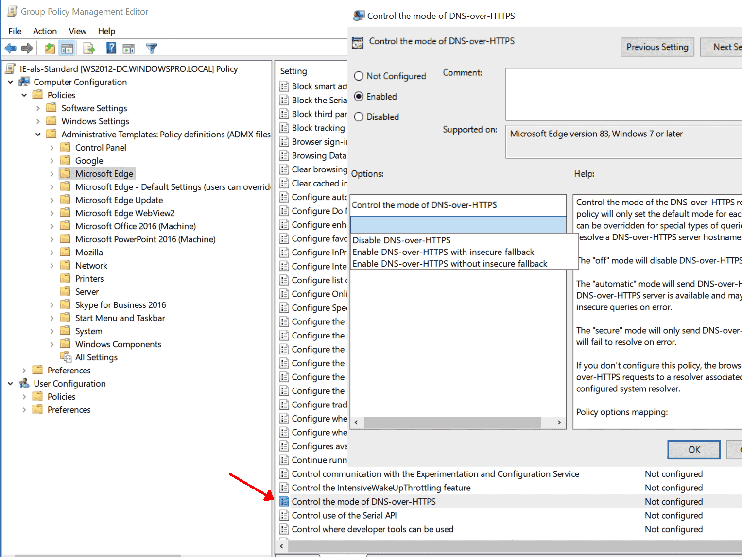 Configuring DNS over HTTPS for Microsoft Edge via Group Policy