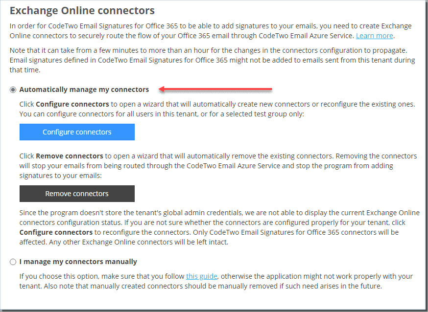 Configuring Exchange Online connectors for CodeTwo Email Signatures