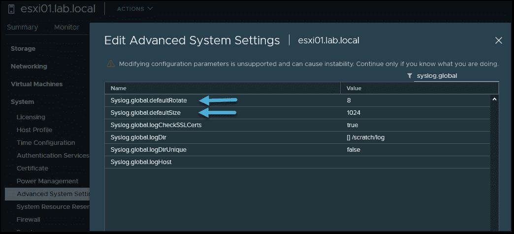 Configuring syslog on ESXi 7 hosts