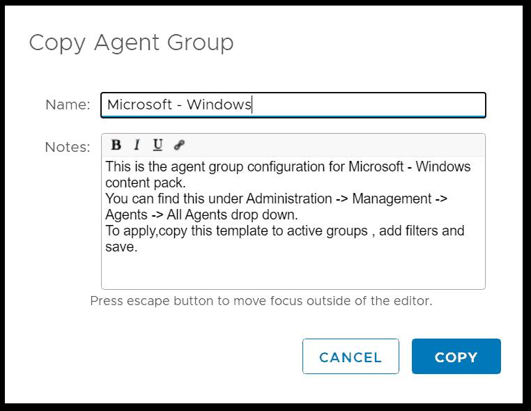 Copy agent group