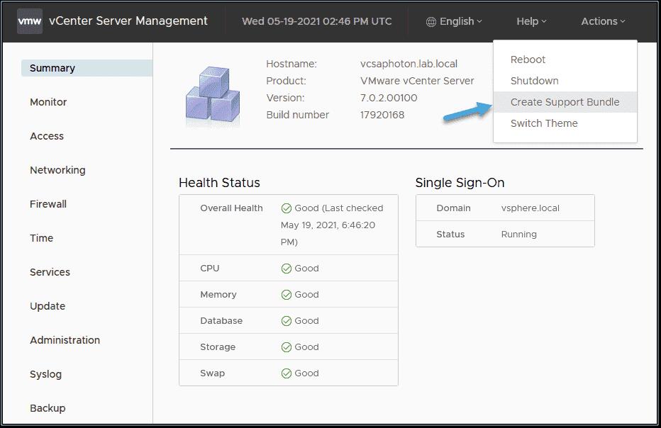 Create vCenter Server appliance support bundle