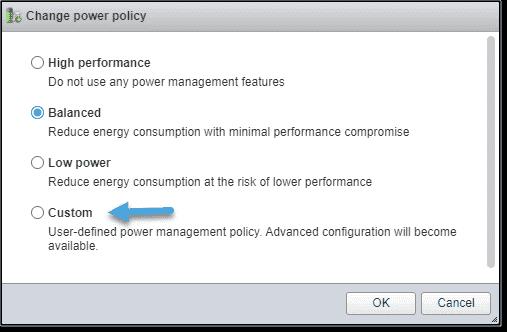 Custom power management policy