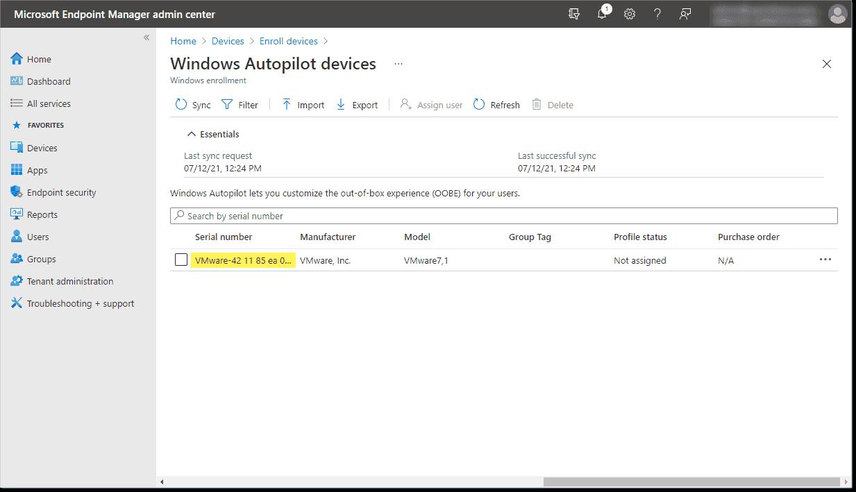 Device successfully imported into Windows Autopilot