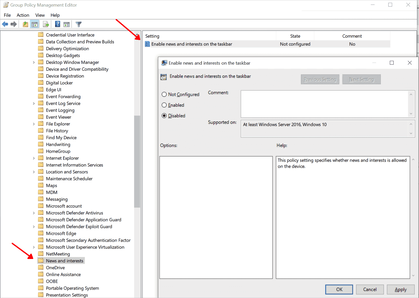 Disable the news widget by deactivating the above setting