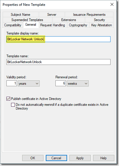Duplicating the user template and customizing the BitLocker Network Unlock template
