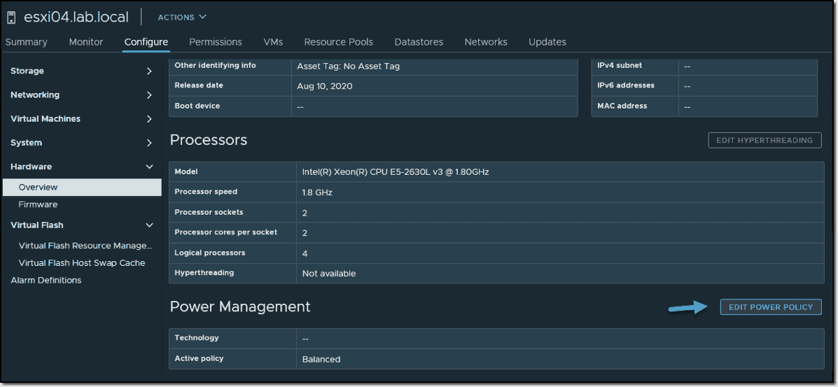 Edit VMware ESXi Power Management policy with vCenter