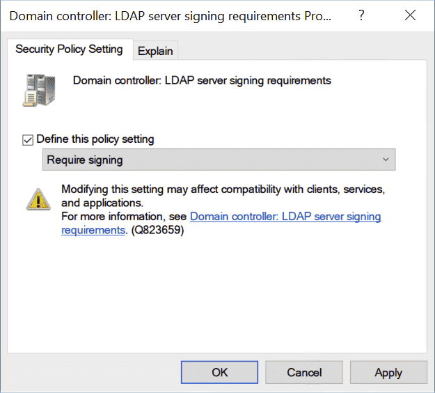 Enforce signing of the LDAP communication for the domain controller