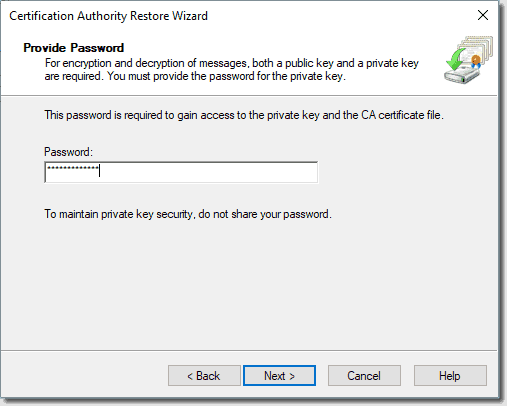 Enter the restore password for the backup