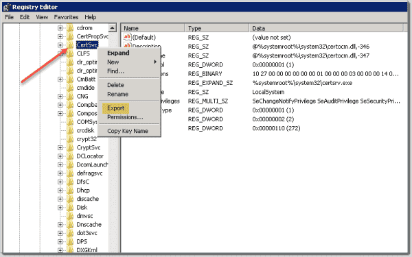 Exporting the Active Directory Certificate Authority CertSvc registry key