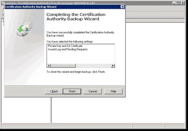 Finish the backup of AD CS