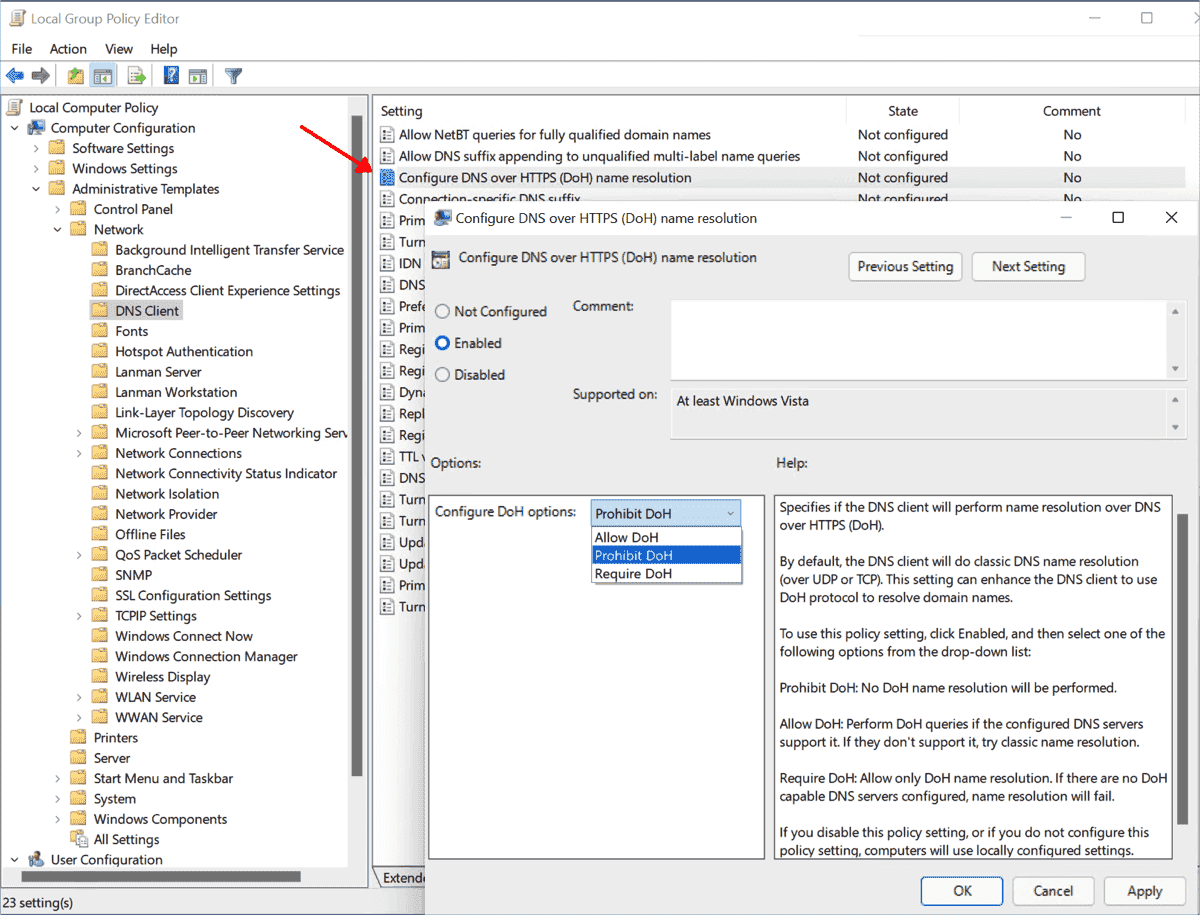 Group policy for the central configuration of DNS over HTTPS