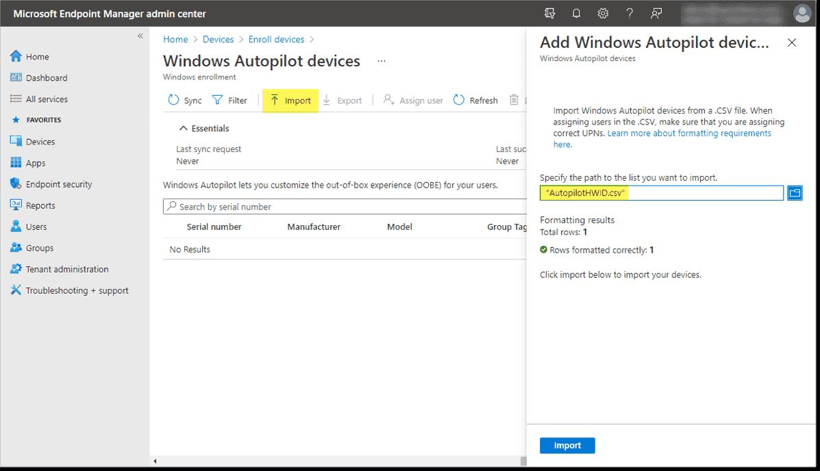Import devices into Windows Autopilot