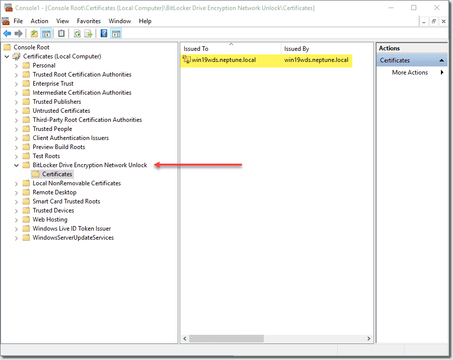 Import the PFX into the Computer certificates node
