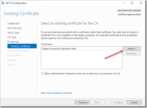 Import the existing certificate for the CA