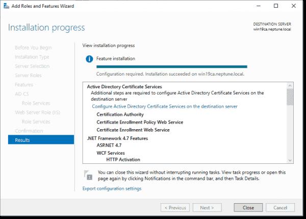 Installation of CS is successful in Windows Server 2019