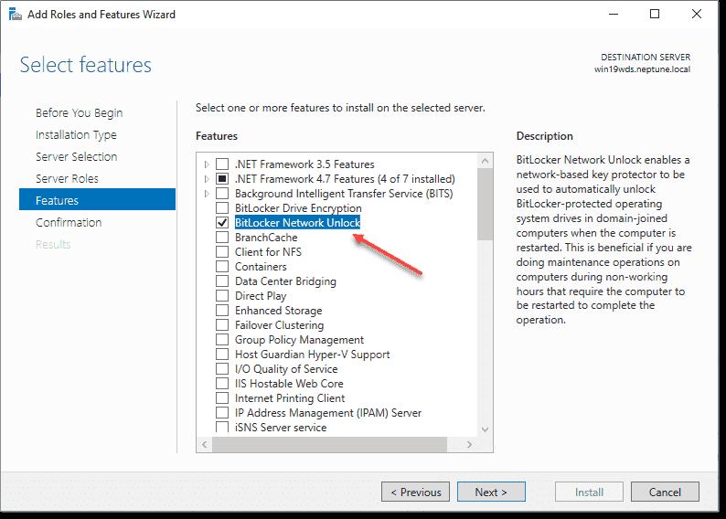 Installing the BitLocker Network Unlock