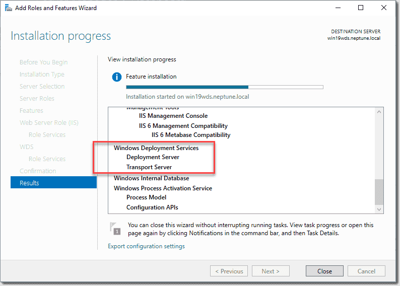 Installing the Windows Deployment Services WDS role