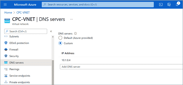 Internal DNS servers are entered into the vNET configuration so that cloud PCs can use resources in the company network
