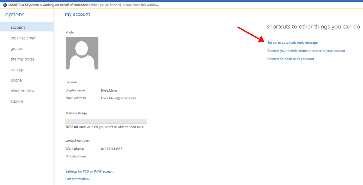Link to the automatic reply settings