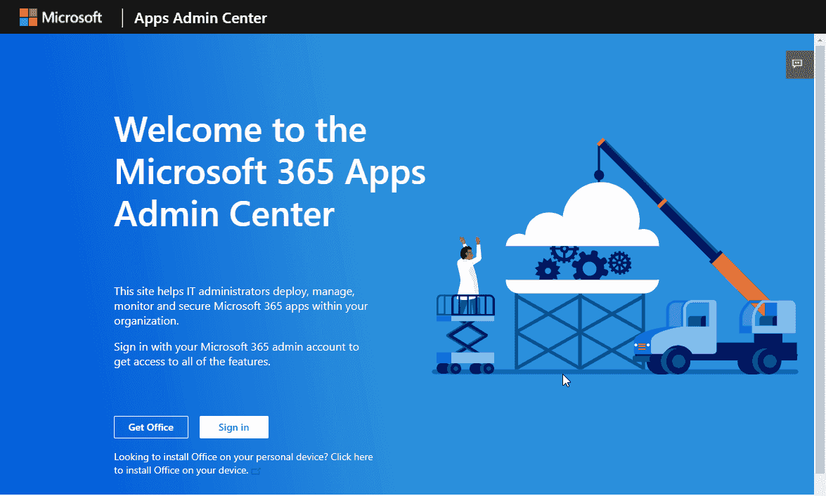 Logging into the Apps Admin Center
