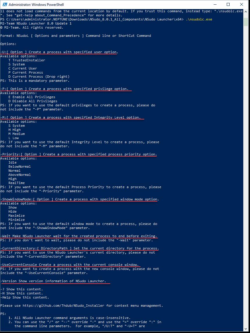NSudo command line options