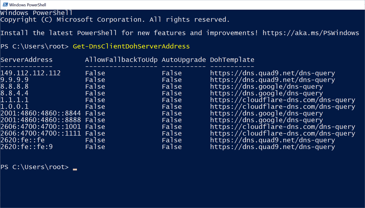 New parameters for netsh.exe for configuring DoH