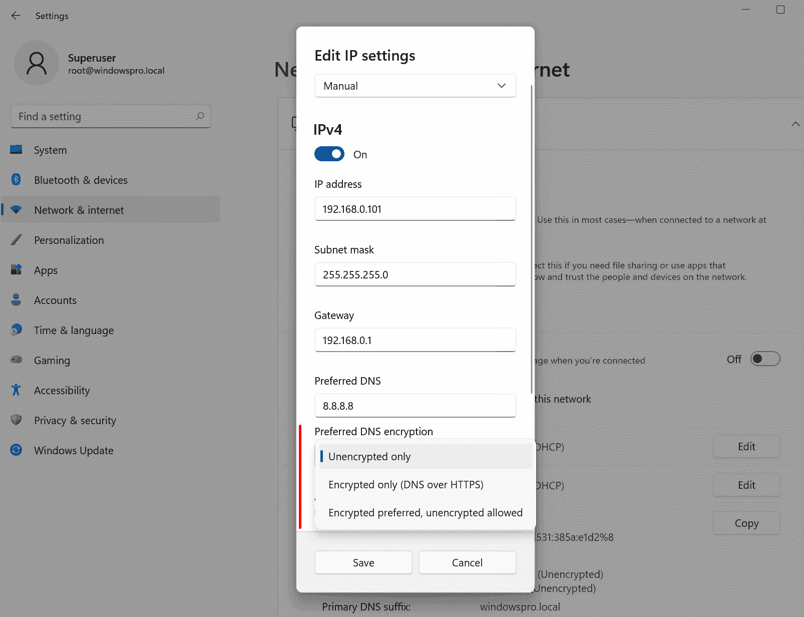 Option to configure DoH in the Windows 11 settings app