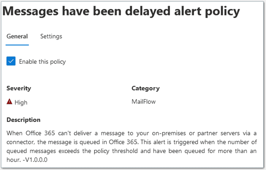 Queued message alert created by default