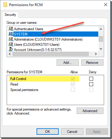 Registry permissions assigned to the SYSTEM account that can be modified