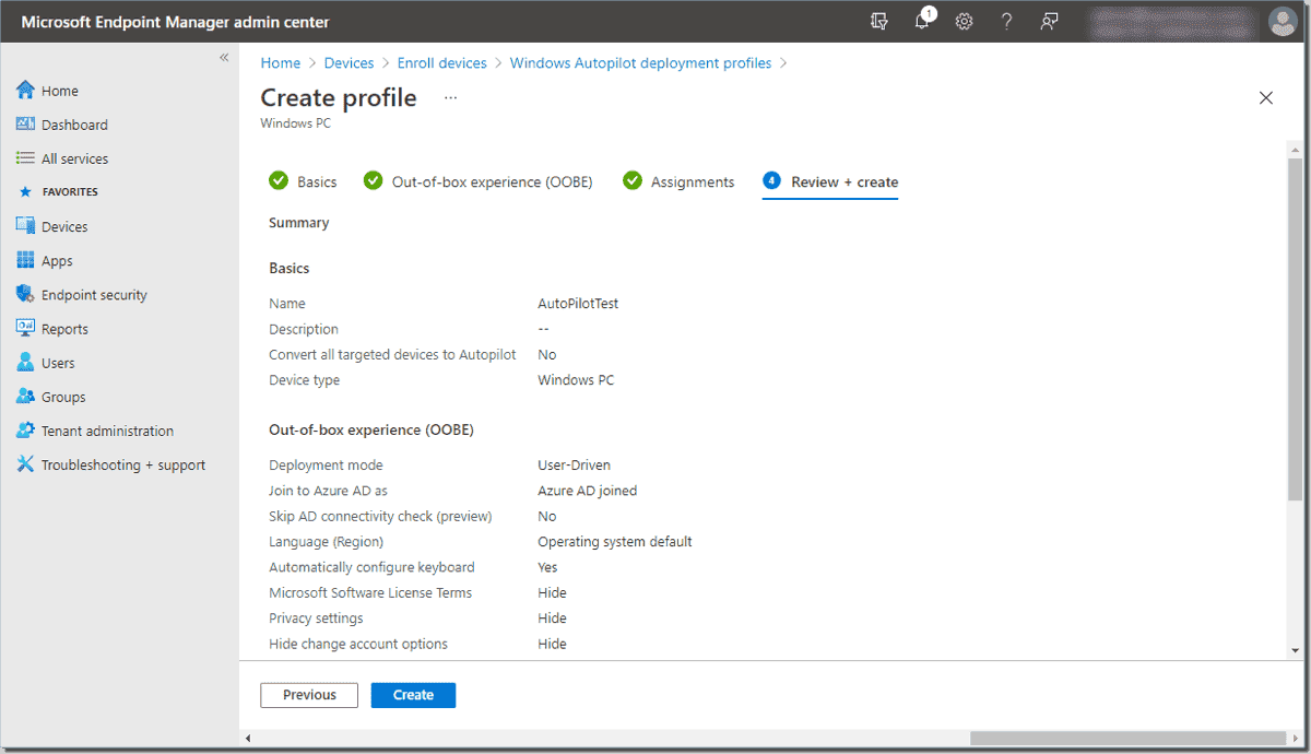 Review and create the new deployment profile
