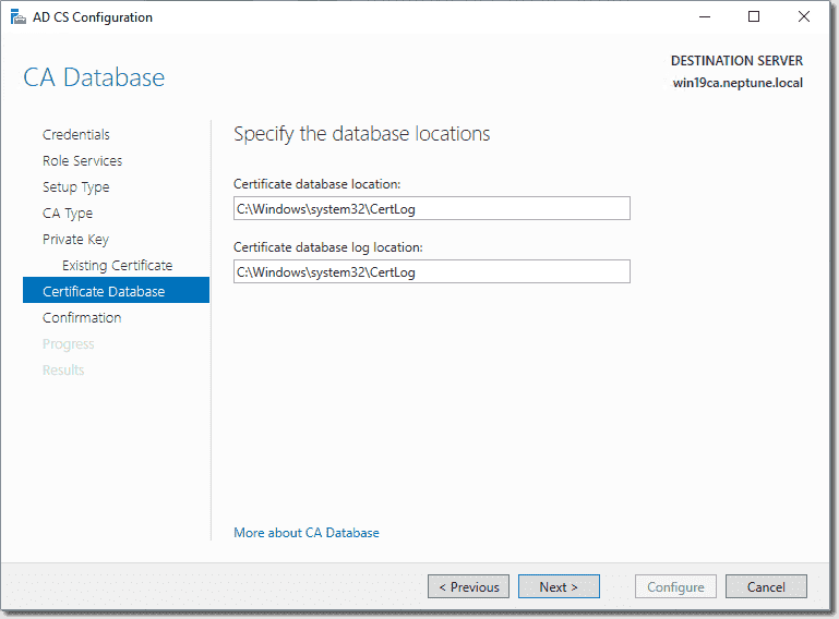 Select the database location for AD CS
