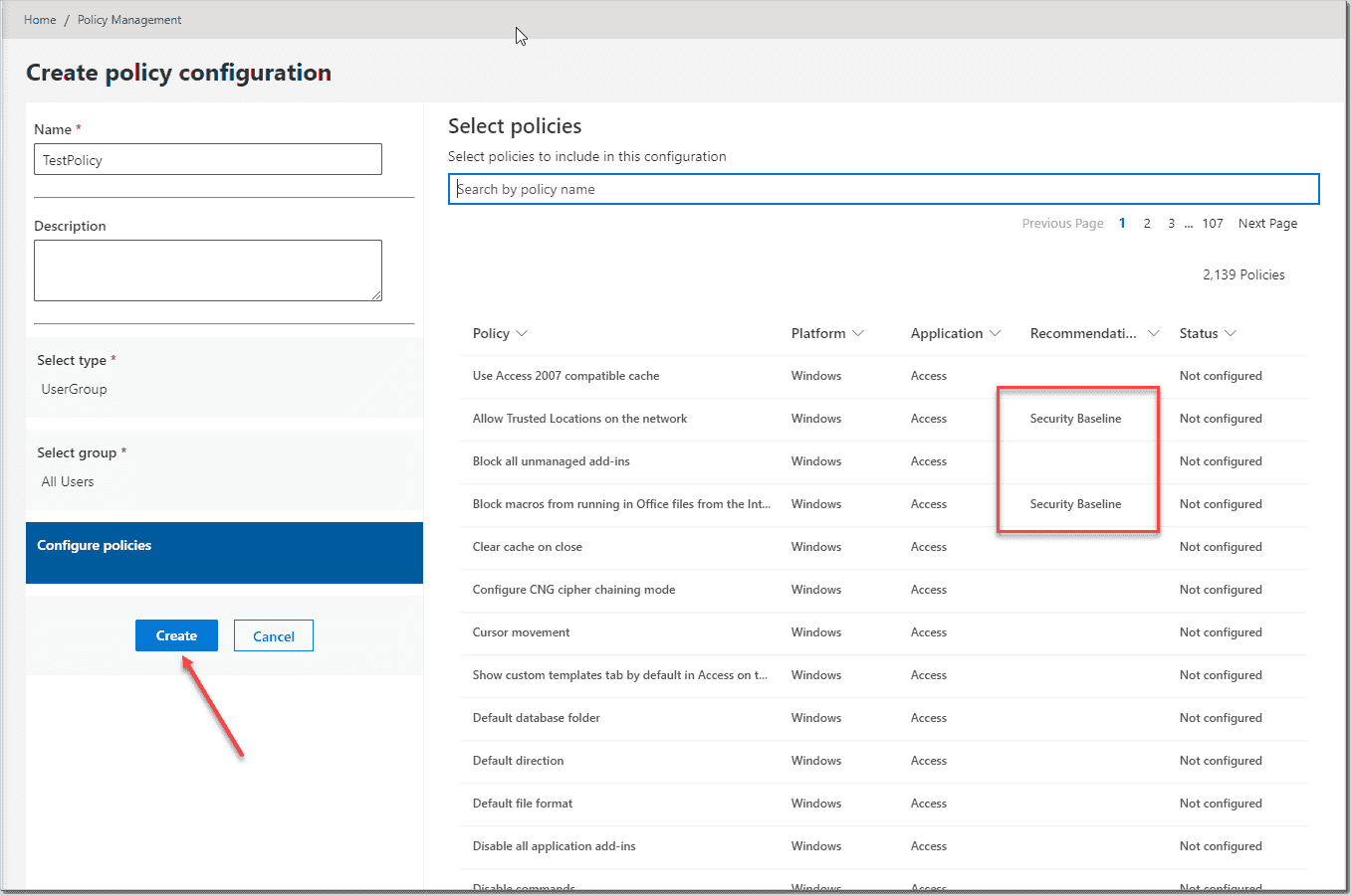 Selecting policy settings to apply in the Office cloud policy service