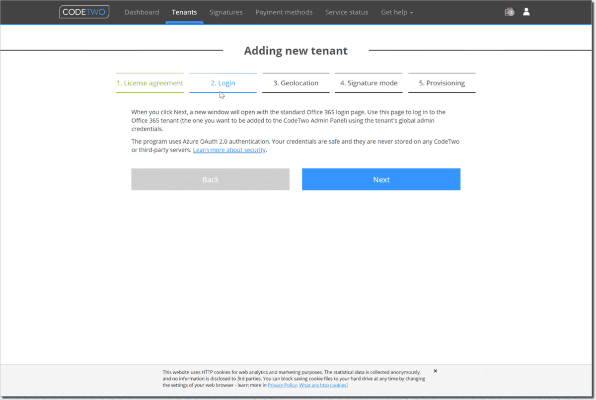 Sign in to your Microsoft 365 account to connect CodeTwo