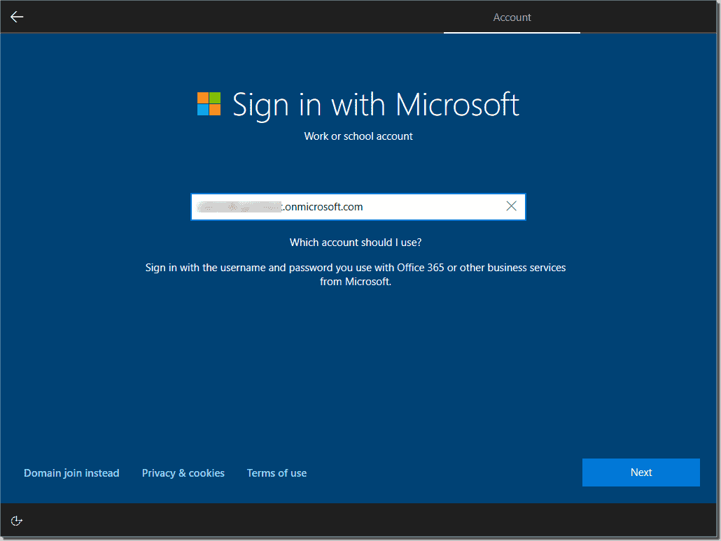 Sign in with the organization account for Windows Autopilot